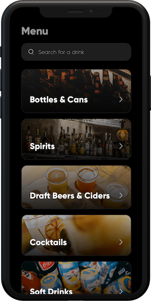 iphone 11 showing list of drinks